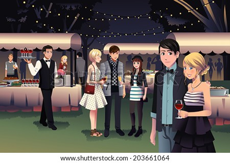 A vector illustration of young stylish people having a night party outdoor - stock vector
