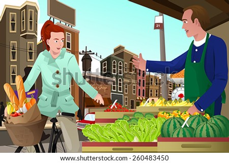 A vector illustration of young woman riding a bike shopping at a farmers market - stock vector