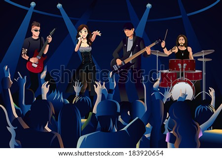 A vector illustration people in a concert - stock vector