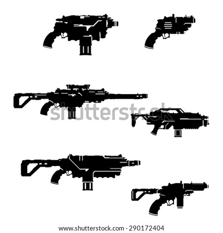 A vector illustration science fiction weapons. Assortment of hi-tech guns Illustration Icon. Futuristic weapons.