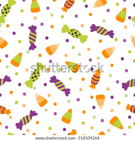 A vector illustration seamless pattern background of halloween trick or treat candies. Bright candies and sweets in the traditional colors of Halloween - stock vector