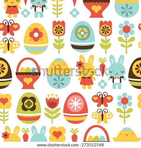 A vector illustration seamless pattern background of retro folk art easter theme.  - stock vector