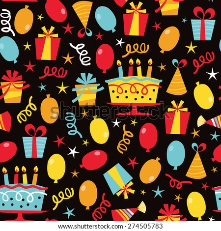 A vector illustration seamless pattern of a colorful retro birthday party  theme. Vector Illustration Seamless Pattern Colorful Retro Stock Vector