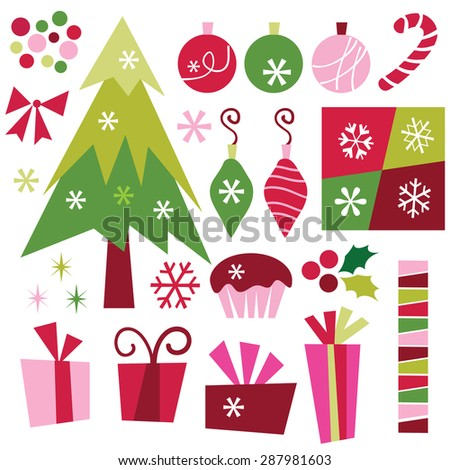 A vector illustration set of christmas design elements like christmas tree, gifts, pudding, ribbons, stars and confetti, snowflakes and more.
