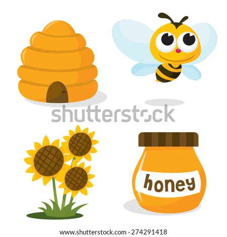 A vector illustration set of honey bee related icons like happy honey bee, beehive, honey jar and sunflower. - stock vector