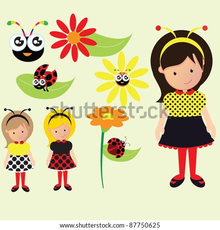 a vector illustration set of kids, ladybug, flowers, leaves and girls