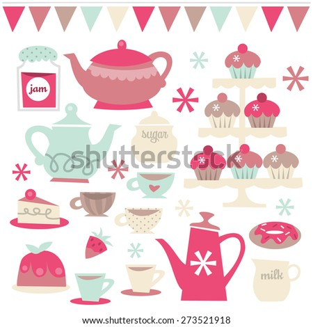 A vector illustration set of retro tea party theme design elements. Included in this set:- teapots, teacups, saucer, cupcakes, cakes, jam and more. - stock vector
