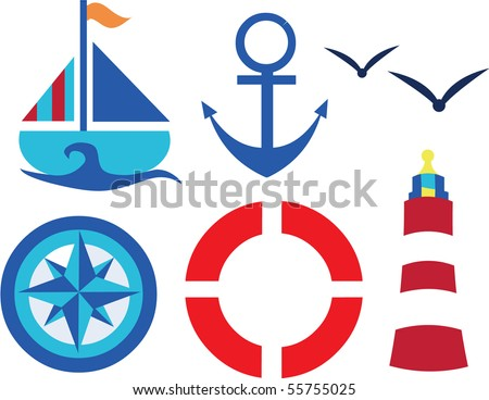 a vector illustration set of Set of nautical vector symbols
