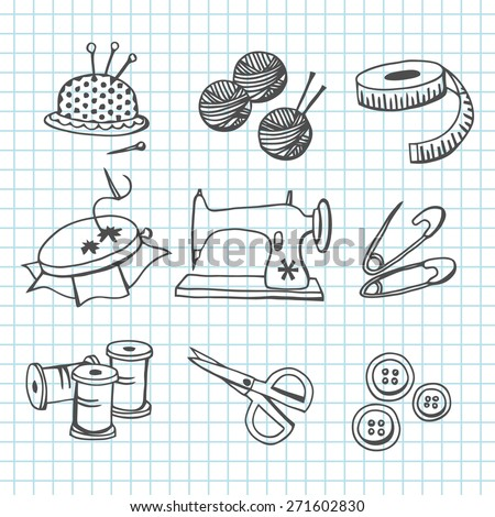 A vector illustration set of sewing and haberdashery items in doodle line art style. In this set:- pin cushion, wool,tape measure,needlecraft, sewing machine, pin,thread,scissors,buttons and needles.