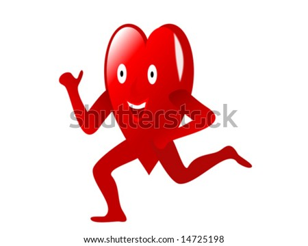 a vector illustration with a happy cartoon heart running depicting exercise and fitness for a healthy heart