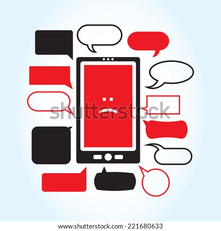 A vector illustration with a smartphone displaying a sad face icon surrounded by a series of mean looking text boxes.