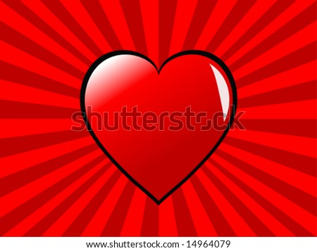a vector illustration witt a red heart on a two tone red ray effect background, can be used for saint valentines day, or love or romance