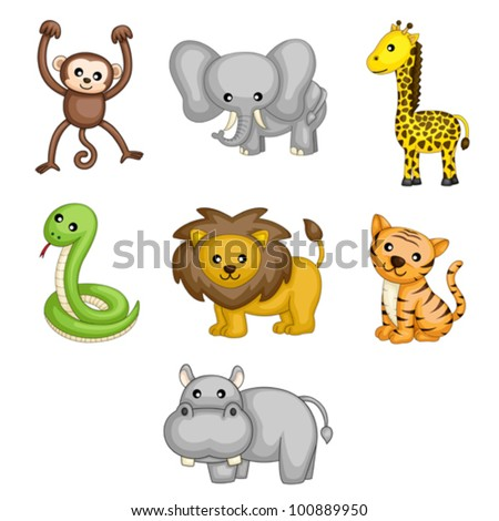 A vector illustrations of wild animals cartoon - stock vector