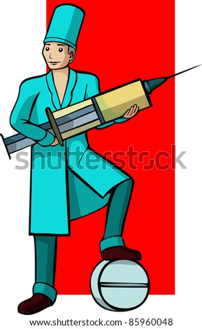 A vector image of a Doctor's profession.