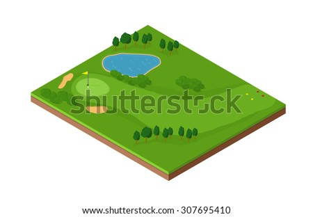 A vector image of an isometric golf hole with putting green, bunker and fairway. Isometric Golf course Icon illustration. Isometric tile with golf green and land features, - stock vector