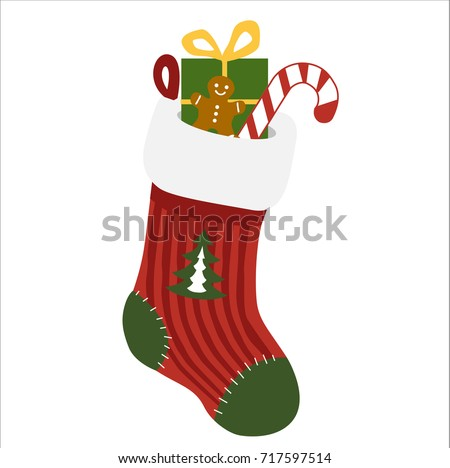 A vector isolated on white background - decorated christmas socks in christmas colours full of gifts and sweet.