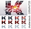 A vector letters set of a collapsing alphabet. 4 states. Symbol K - stock photo