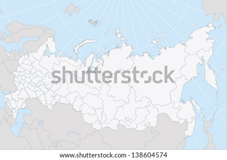 A vector map of Russia with regions as selectable editable path in EPS 10 format. The map uses Lambert's conformal conic map projection. - stock vector