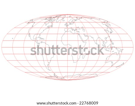 A vector map of the world that uses the Mollweide projection showing the outlines of the continents and a map grid in red. - stock vector