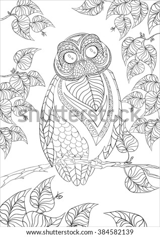 A4 Vector Monochrome Zentangle Stylized Abstract Owl On A Tree Branch With Leaves And Flora
