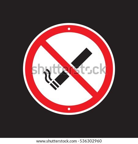 A vector no smoking sign on a black background.