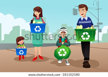 A vector of family recycling together - stock vector