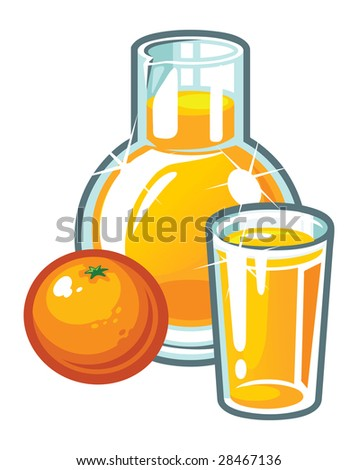 A vector orange, a glass and a jug of orange juice - stock vector