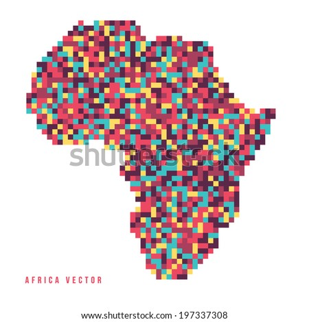 A vector outline of the continent of Africa in a pixel art style