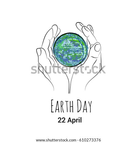 Vector poster world earth day showing stock vector royalty free a vector poster to world earth day showing hand drawn outlined sketch of human hands protecting ccuart Image collections