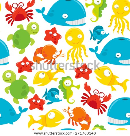 A vector seamless pattern background of happy silly cute sea animals theme.  - stock vector