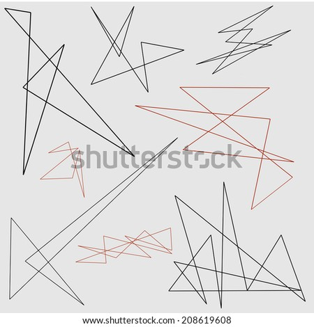 A vector set of abstract geometric line designs - stock vector