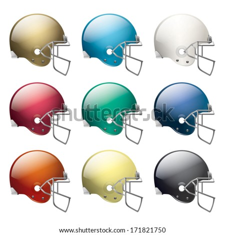 A vector set of american football helmets in different colors. EPS 10. File contains transparencies. Basic gradients only. No gradient mesh. - stock vector