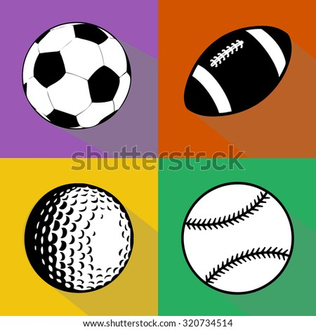 A vector set of black and white sport balls isolated over colored background. Football (soccer), american football, baseball and golf balls vector illustration - stock vector