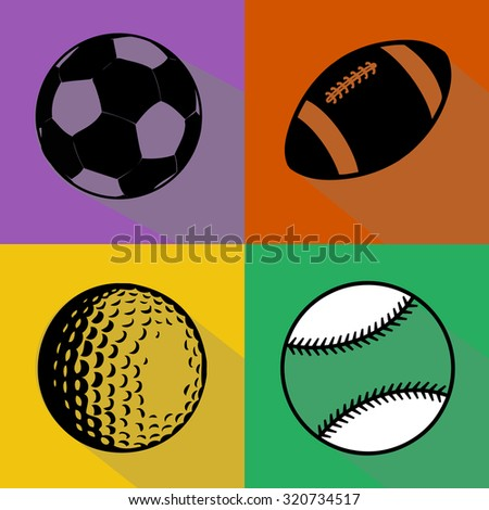 A vector set of black silhouettes of sport balls isolated over colored background. Football (soccer), american football, baseball and golf balls vector illustration