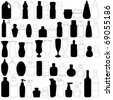 A vector set of bottles : perfume, glass, containers (Silhouette & Outline) - stock photo