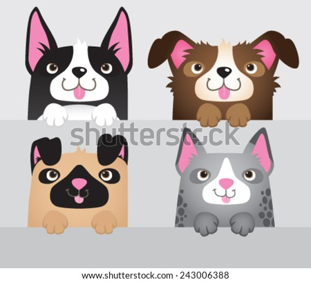 A vector set of 4 cartoon dogs leaning over a wall.  - stock vector