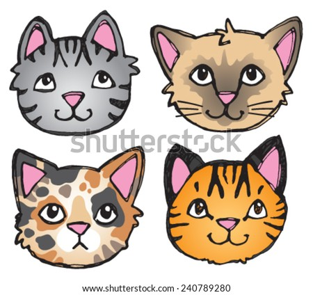 A vector set of 4 cat's faces drawn in a scratchy style.  - stock vector