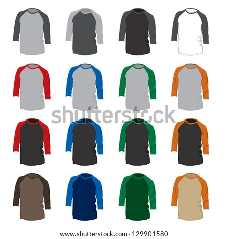 A vector set of 16 different colored baseball t-shirts.  Suitable for design mock-ups prior to silkscreen printing. - stock vector