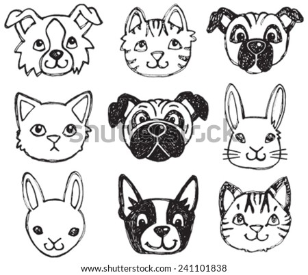 A vector set of dog, cat and rabbit faces drawn in a scratchy style in black and white.  - stock vector