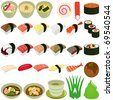 A vector set of Food Icons : Japanese Cuisine - Sushi, Soup - stock vector