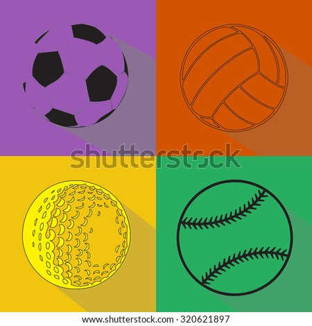 A vector set of sport balls black silhouettes isolated over colored background. Football (soccer), volleyball, baseball and golf balls vector illustration set