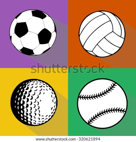 A vector set of sport balls isolated over colored background. Football (soccer), volleyball, baseball and golf balls vector illustration - stock vector