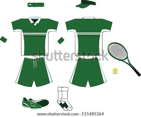 A vector set of tennis clothing and accessories, every object is singly grouped - stock vector