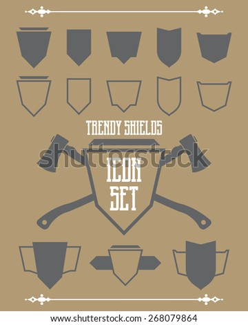 A vector set of trendy shields and crests. Outline and solid versions are included. - stock vector