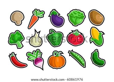 A vector set of veggie icons - stock vector