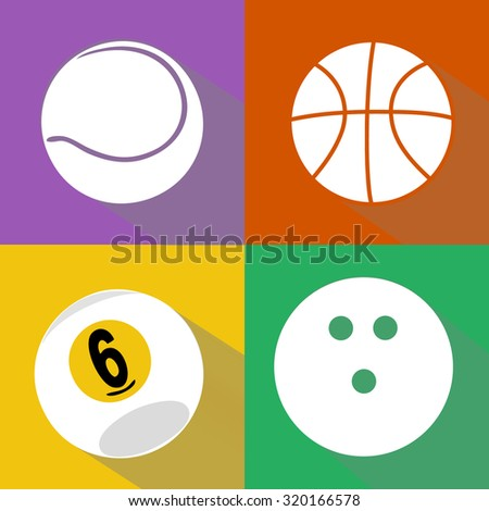 A vector set of white sport balls icons with shadows isolated over colored background. Tennis, basketball, billiard and bowling balls flat design illustration - stock vector
