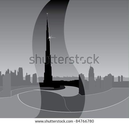 A vector silhouette. City panorama, building.