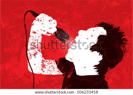 A vector silhouette of a male punk rock singer styled to look like a worn, grungy handmade print. - stock vector