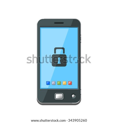 A vector smartphone icon illustration with a padlock. Mobile Phone security concept icon illustration. A wifi wireless device connected to the Internet - that is secure. - stock vector