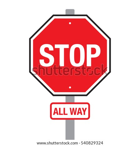 A vector stop all way sign on a pole over a plain white background.